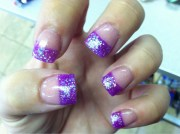 purple french tips nails