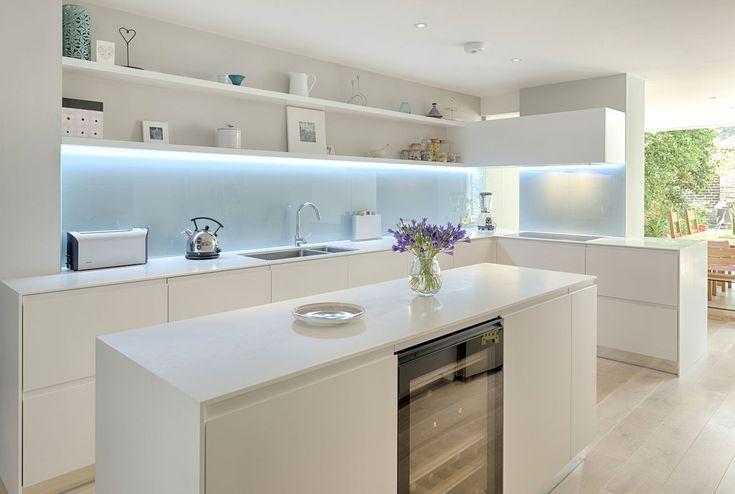white lacquer kitchen cabinets island with cooktop in coloured satin matt glacier ...