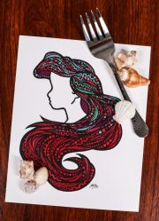 zentangle - sea hair disney