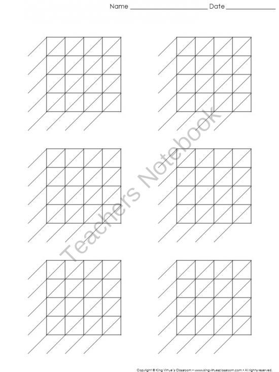 Lattice Multiplication: Blank Practice Sheet 4-digit by 4