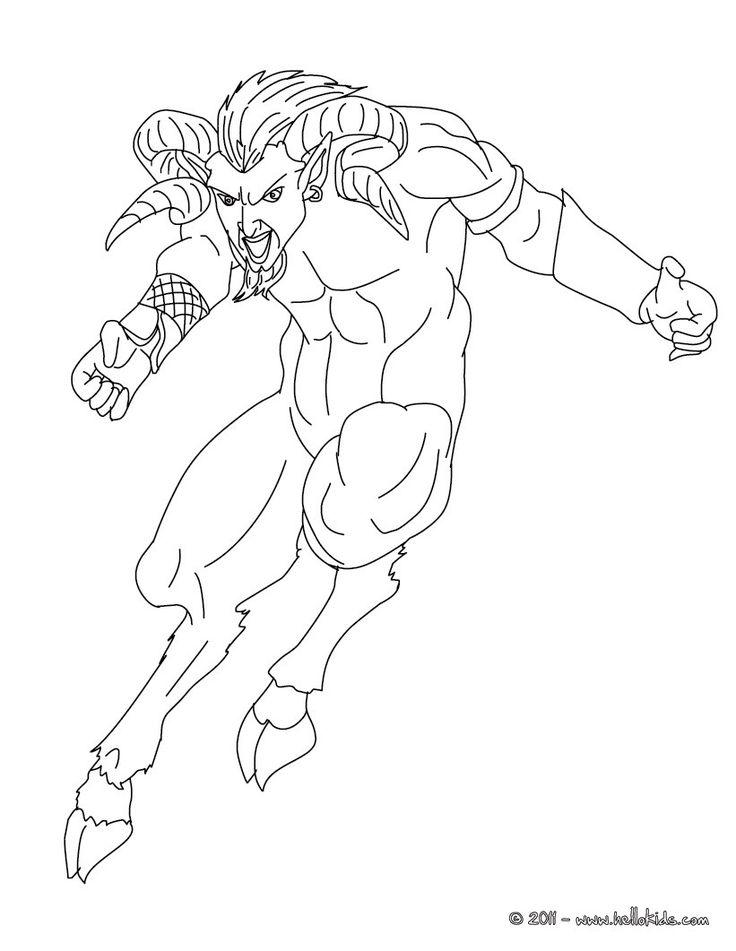 Kleurplaat SATYR the half human and half goat creature