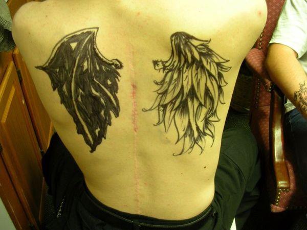 20 Chest Tattoos Half Angel Half Demon Ideas And Designs