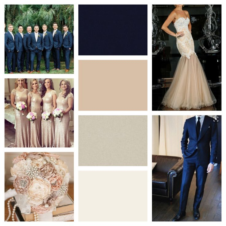 Navy blue nude champagne ivory and blush  Our wedding