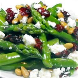 Asparagus with pine nuts, cranberries and feta Recipe by KSUGIRL93 via @SparkPeople. Made this the other night. Super
