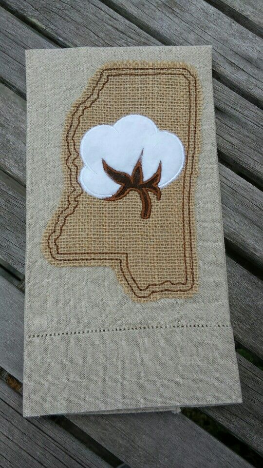 MississippiCotton boll towel  Mississippi Alabama embroideryapplique  Pinterest  Need to