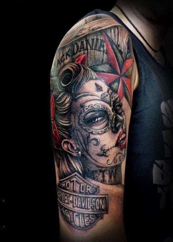 f4accd611 Motorcycle Tattoo Ideas For Men - rose tatoo