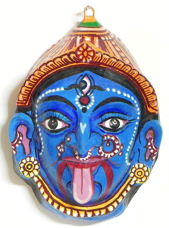 Kali Mask  Wall Hanging Papier Mache  KALI THE HINDU GODDESS  Divine Mother yet Fierce