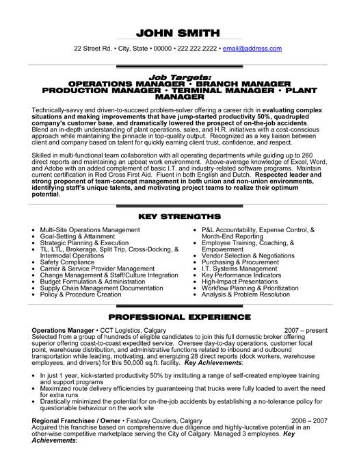 Operations Resume Examples - Examples of Resumes