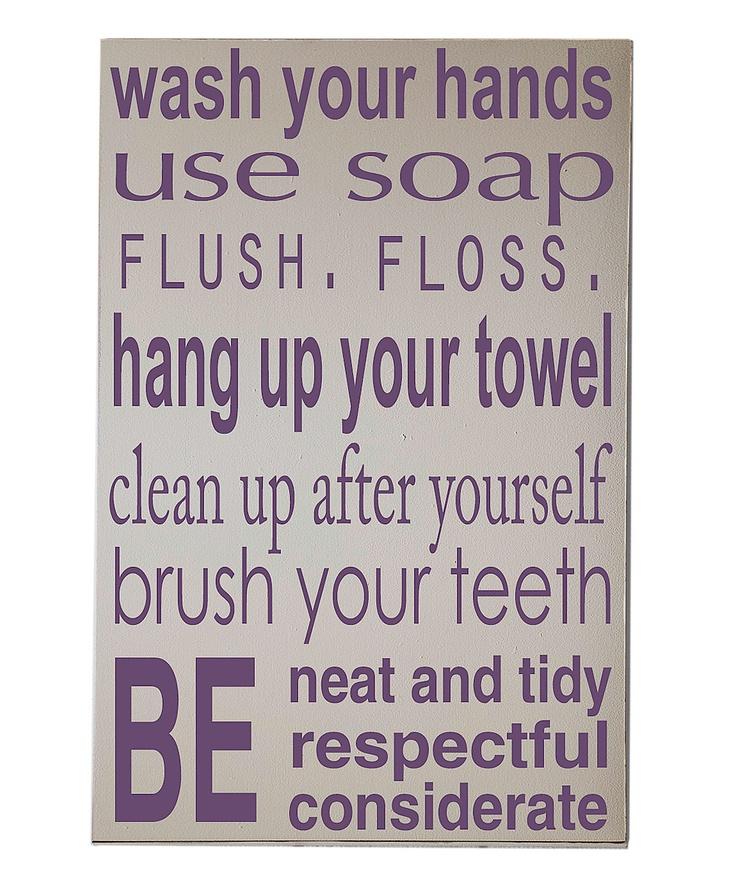 Cream  Purple Bathroom Rules Wall Art