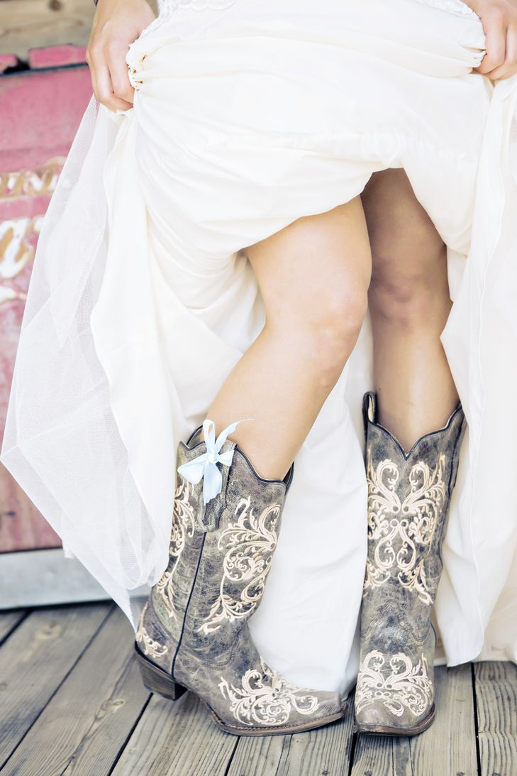 Bridal Cowboy Boots With Blue Bow  Smith Nest  Andie