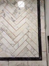 Marble herringbone shower floor | Incredible Tile ...