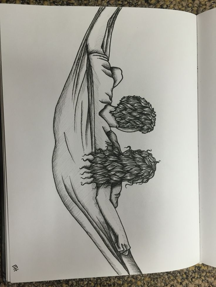 Couple Eno Hammock Drawing In Pen My Artwork