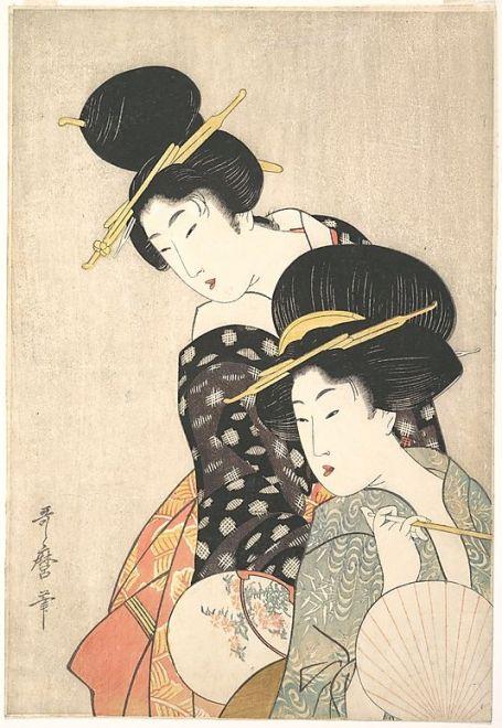 Two Women  Kitagawa Utamaro  (Japanese, 1753–1806)  Period: Edo period (1615–1868) Date: ca. 1790 Culture: Japan Medium: Polychrome woodblock print; ink and color on paper: