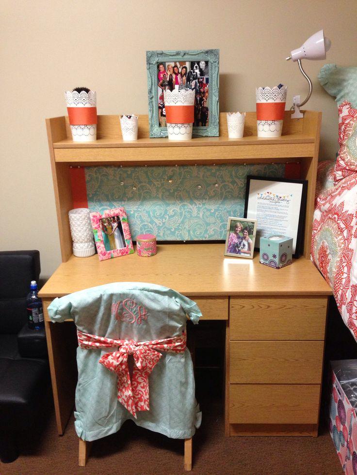 Pinterest MakeitMadiDorm desk and monogram chair cover