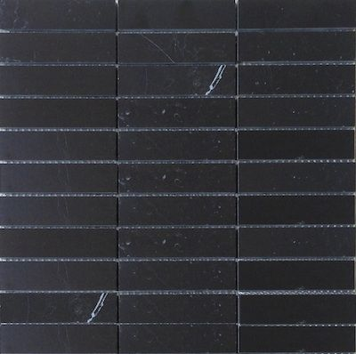 Nero Marquina Black Marble 1x4 Stacked Brick Polished