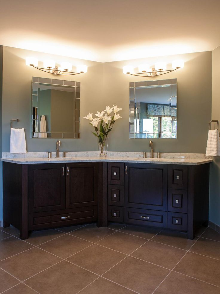 This contemporary master bathroom features a custom cherry