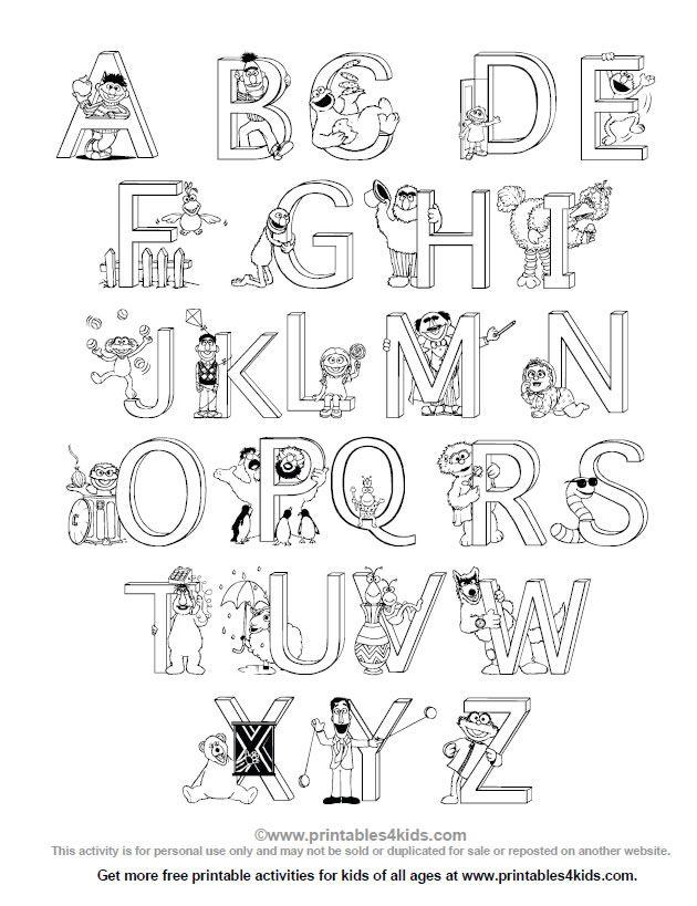 Sesame Street Alphabet Coloring Page : Printables for Kids