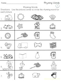 Kindergarten Rhyming Worksheets