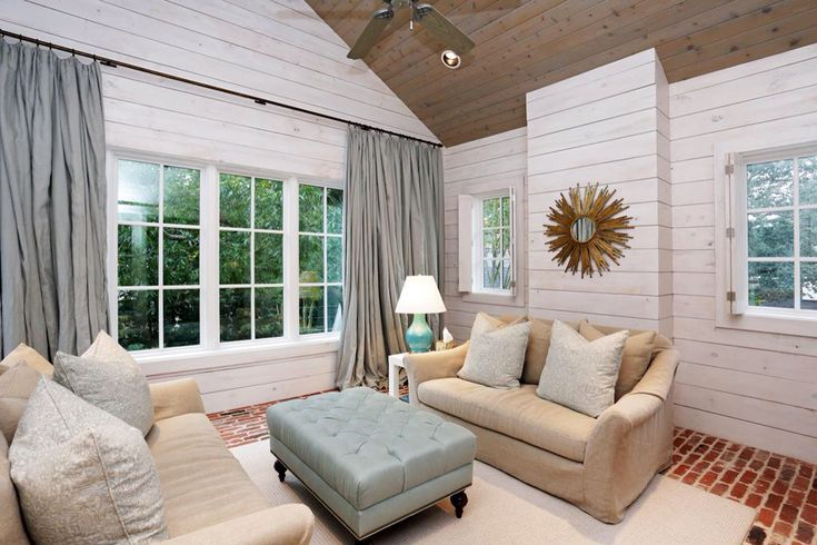 Whitewashed Shiplap walls with stained wooden cathedral ceiling  Beach Cottage  Pinterest