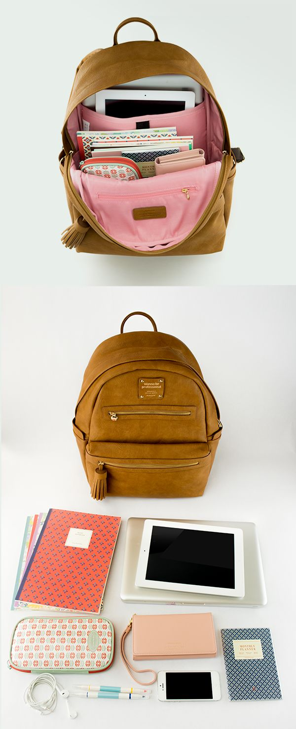 "Finally! A stylish leather backpack thats perfect for school. Rain-proof exterior, a built-in cushioned 13.3"" laptop pocket, 10"