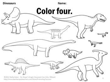 Dinosaurs Kindergarten Coloring Pages Special Education