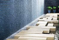 Wood stepping blocks, concrete wall | I love landscaping ...