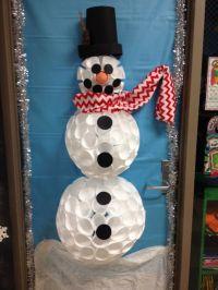 My styrofoam cup snowman for my 1st grade door ...