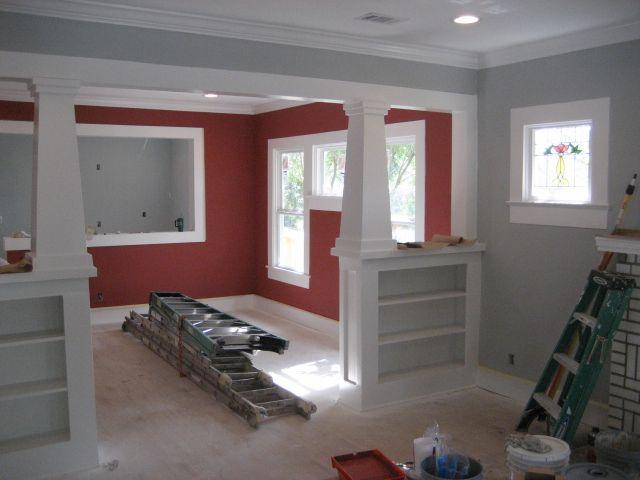 Living Room Red And Grey Walls Novocom Top