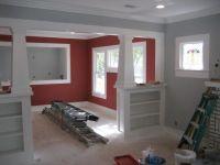 Hardwood floors, grey walls, red walls | Living Room ...
