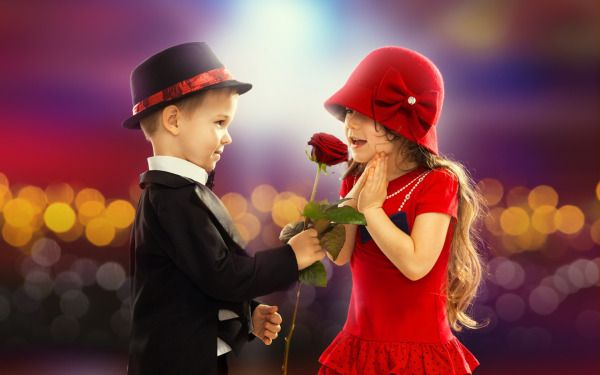 Girl Propose To Boy Wallpaper With Quotes Little Boy Gives Little Girl A Red Rose Wallpaper Hats