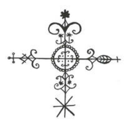 Crossroads vever – key symbol in Voodoo; the place where the physical and spirit world intersect, and also where polarities