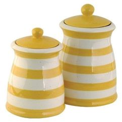 Kitchen Storage Canisters Farmhouse Lighting Fixtures Yellow & White Striped Ceramic Canister Set ...