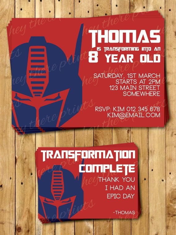 Optimus Prime Transformers Invitations and Thank You Cards – Autobots – Bumblebee on Etsy, $18.16