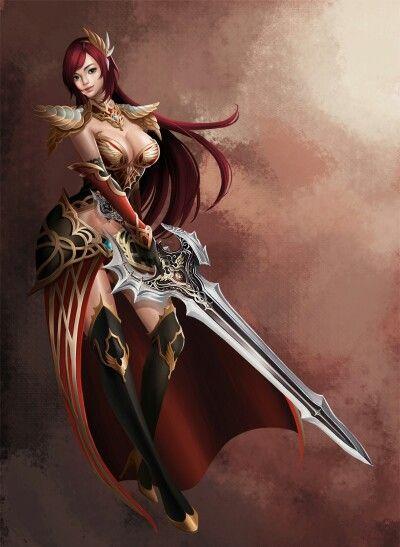 Red Anime Wallpaper Guerrera Gran Espada Fantasy Illustration Pinterest