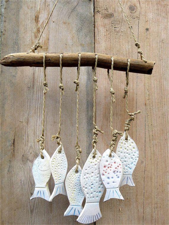 Ceramic Garden Wind Chime Ceramic 6 Fische handmade