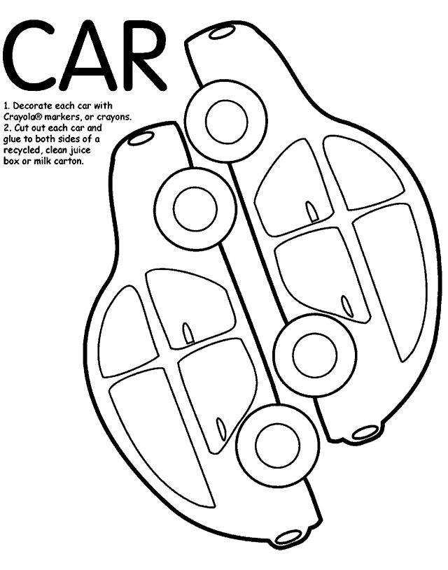 Crayola.com template: they suggest coloring each car, then