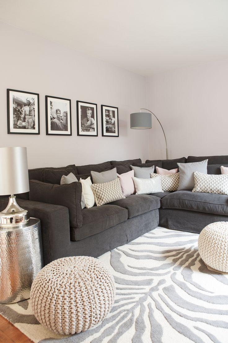 wohnraum dekoration wei couch kissen teppich | sichtschutz - Wohnzimmer Beige Silber