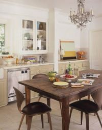 mid century modern chairs, rustic farm house table and ...