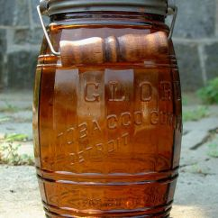 Kitchen Storage Baskets Small Square Table Antique Amber Glass Globe Barrel Tobacco Jar With Lid And ...
