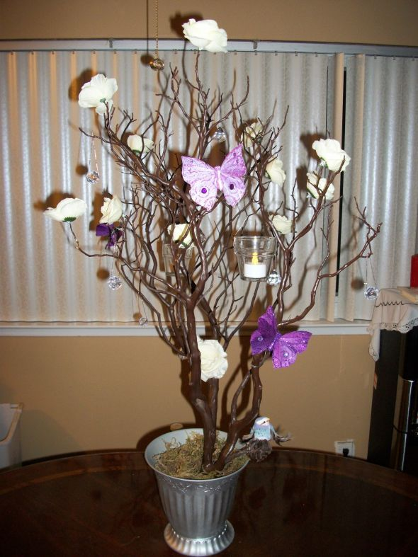 DIY Manzanita Tree Centerpiece  wedding butterfly hanging