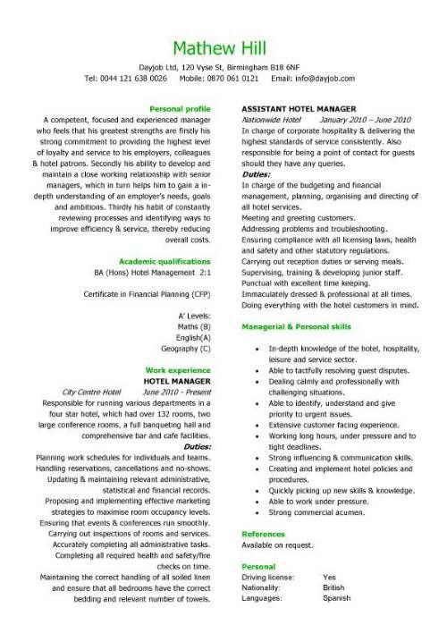 Hospitality CV templates hotel receptionist corporate