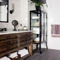 A vintage cabinet is transformed into a bathroom vanity ...
