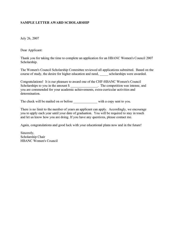 Scholarship Congratulatory Letter   Resignation Letter
