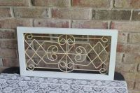 Vintage Wall Decor/Distressed White Wood Framed Iron Wall ...