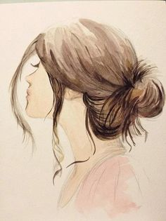 bun drawing messy hairstyles buns sketch draw drawings sketches side pretty painting woman pencil brown watercolor portrait low simple too