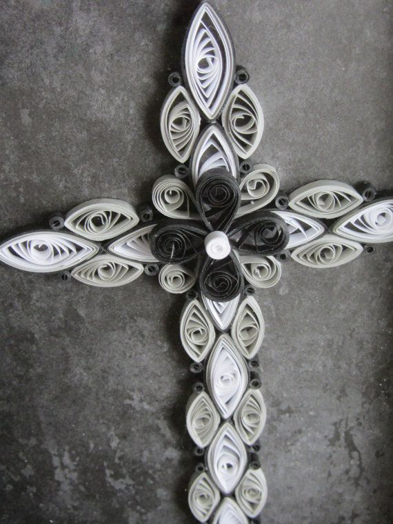Quilled Cross Black And White By SmilingBullCreations On