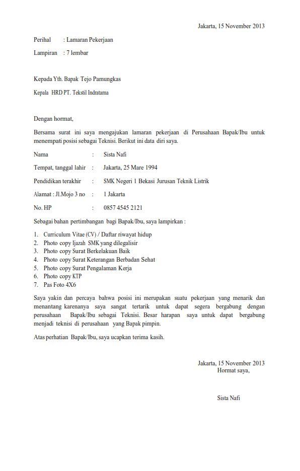 Surat Lamaran Kerja Lulusan SNK Ben Jobs Contoh