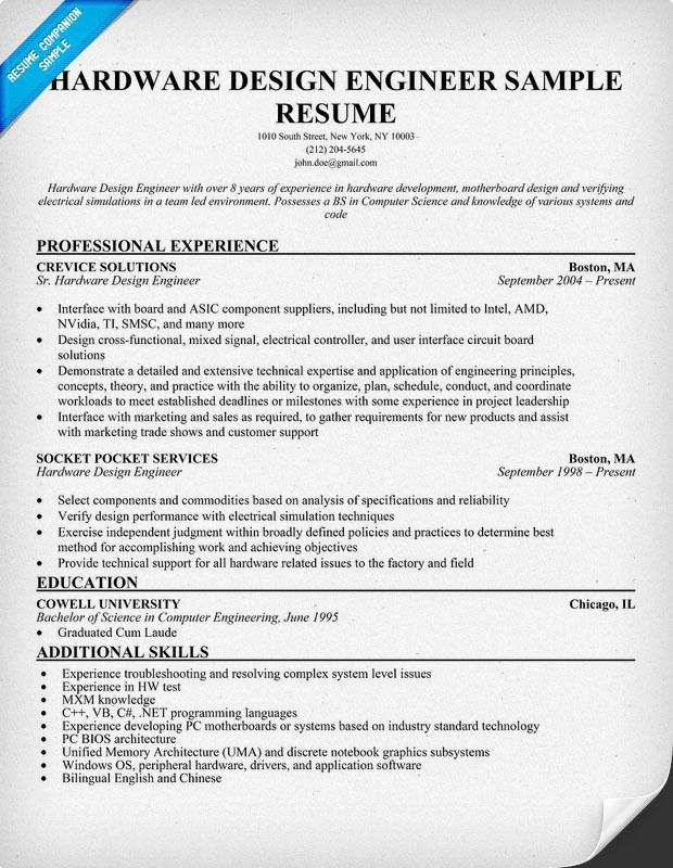 Hardware Design Engineer Resume Resumecompanion Com
