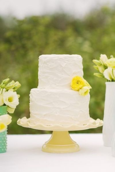 2 Tier Rustic Buttercream Wedding Cake With Yellow Flowers