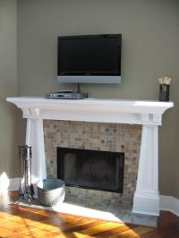 Family Room, Tiled Fireplace, Carved Wood Mantle, Wall ...